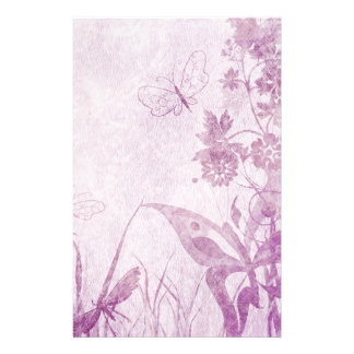 Lovely Purple Distressed Floral and Butterfly Stationery