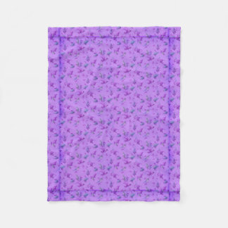 Lovely Purple Floral Fleece Blanket