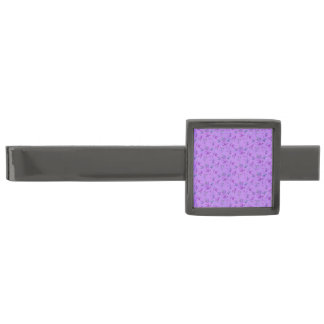Lovely Purple Floral Gunmetal Finish Tie Bar