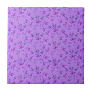 Lovely Purple Floral Small Square Tile