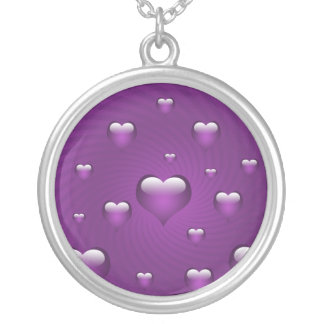 lovely purple hearts silver plated necklace
