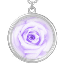 lovely purple rose silver plated necklace