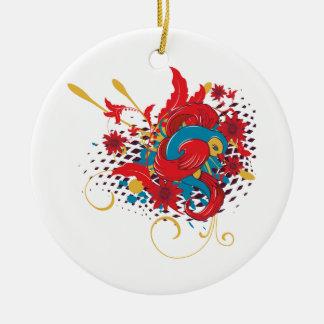 lovely red bird vector art christmas tree ornament