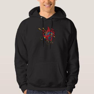 lovely red bird vector art hoodie
