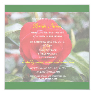 Lovely red camelia flowers green bridal shower card