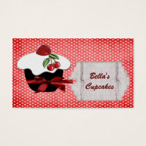 lovely red cupcake business Cards