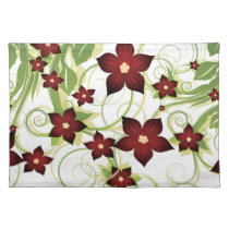 lovely red  floral placemats
