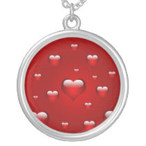 lovely red hearts silver plated necklace