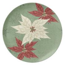lovely red poinsettias holiday gift dinner plate