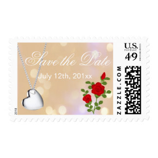 Lovely red rose and silver heart  save the date postage
