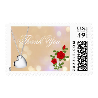 Lovely red rose and silver heart  thank you postage