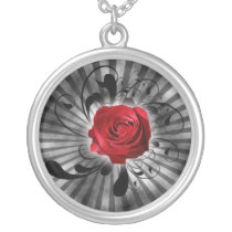 lovely red rose silver plated necklace