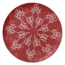 lovely red snowflake holiday gift dinner plate