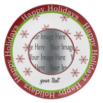 lovely red snowflake holiday gift photo plate