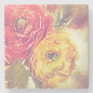Lovely Red Yellow Ranunculus Flowers Watercolor Stone Coaster