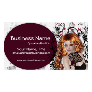 Lovely Redhead Lady  - Fantasy Business Cards
