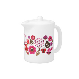 Lovely retro teapot with flower butterfly pattern