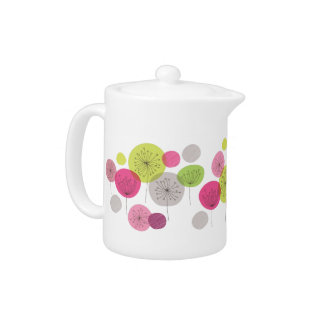 Lovely retro teapot with flower tree pattern