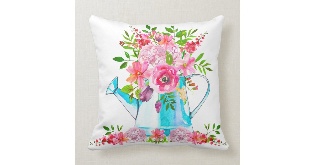 Lovely Romantic Pink Floral Watercolor Throw Pillow Zazzle Com