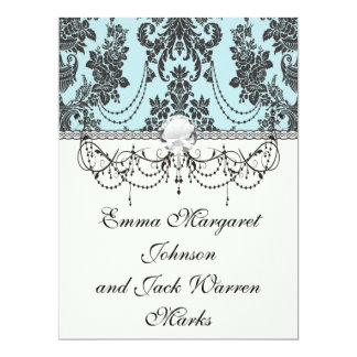 Lovely rose black and baby blue damask 6.5x8.75 paper invitation card