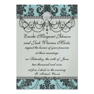Lovely rose black and baby blue damask card