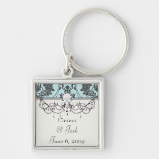 Lovely rose black and baby blue damask keychain
