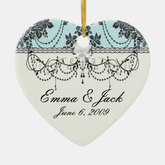 Lovely rose black and baby blue damask christmas ornament