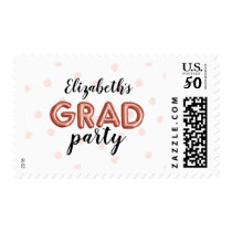 Lovely Rose Gold Balloon Letters Grad Party Postage