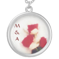lovely roses initials silver plated necklace