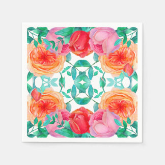 Lovely Roses Watercolor Floral Bright Pattern Paper Napkin