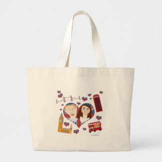 Lovely Royal Cartoon Couple Large Tote Bag