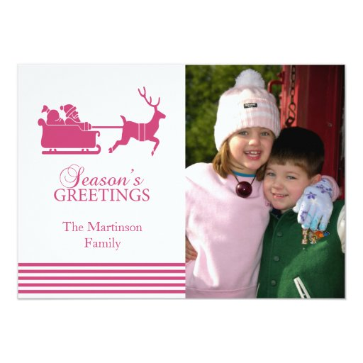 "Lovely Santa Christmas Card (Dark Pink) 5"" X 7"" Invitation Card"