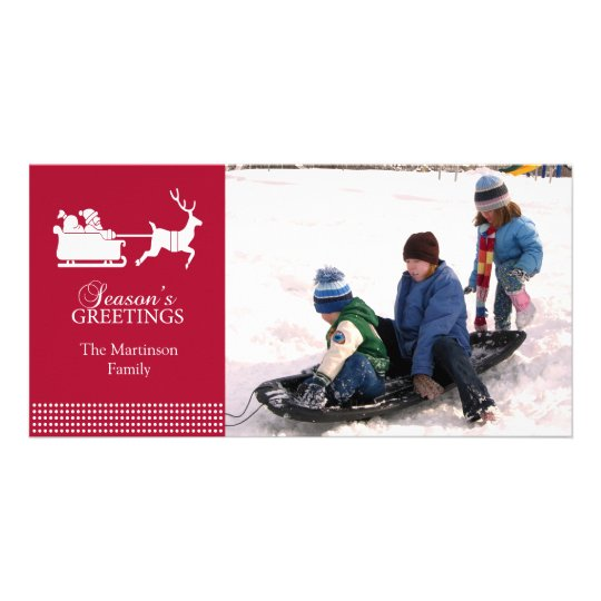 Lovely Santa Christmas Photo Card (Burgandy)
