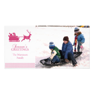 Lovely Santa Christmas Photo Card (Dark Pink)