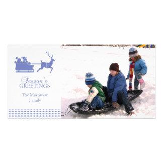 Lovely Santa Christmas Photo Card (Purple)
