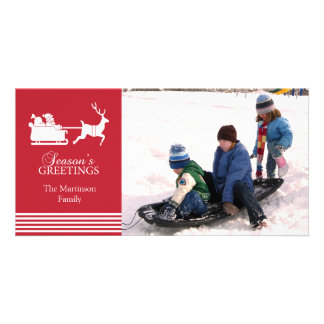 Lovely Santa Christmas Photo Card (Red)