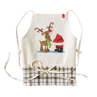 Lovely Santa Claus and Reindeer | HEART Apron