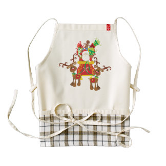 Lovely Santa Claus and Reindeers | HEART Apron