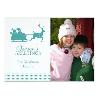 Lovely SantaChristmas Card (Aqua)