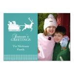 """Lovely SantaChristmas Card (Aqua) 5"""" X 7"""" Invitation Card"""