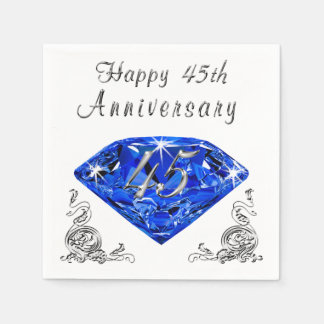 Lovely Sapphire 45th Wedding Anniversary Napkins