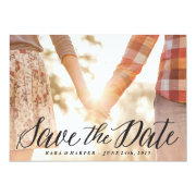Lovely Script photo save the date card Custom Invitations