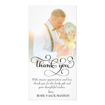 Bride Themed lovely script wedding thank you card