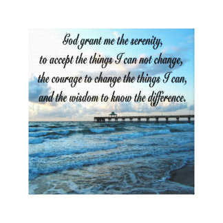 LOVELY SERENITY PRAYER OCEAN AND WAVES PHOTO CANVAS PRINT
