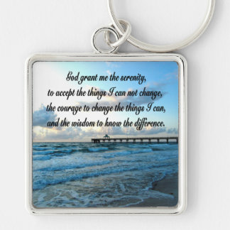 LOVELY SERENITY PRAYER OCEAN AND WAVES PHOTO KEYCHAIN