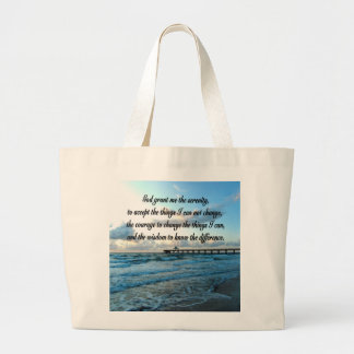 LOVELY SERENITY PRAYER OCEAN AND WAVES PHOTO LARGE TOTE BAG