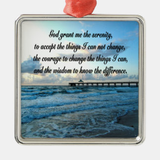 LOVELY SERENITY PRAYER OCEAN AND WAVES PHOTO METAL ORNAMENT
