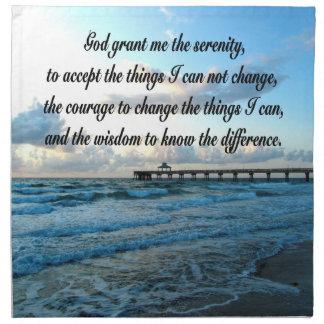 LOVELY SERENITY PRAYER OCEAN AND WAVES PHOTO NAPKIN