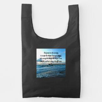LOVELY SERENITY PRAYER OCEAN AND WAVES PHOTO REUSABLE BAG