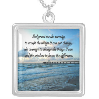 LOVELY SERENITY PRAYER OCEAN AND WAVES PHOTO SQUARE PENDANT NECKLACE